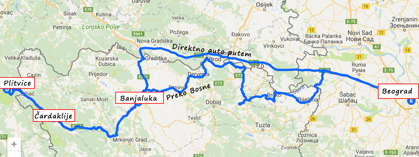 Mapa od Beograda do Plitvica